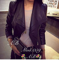 Женская куртка кожанная короткая с воротником 853