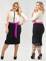 Женское платье с шифоновым пояском (батал)