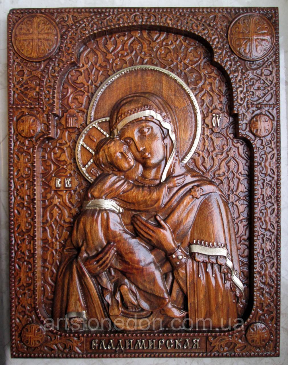 Икона резная Владимирская Божья Матерь с позолтой