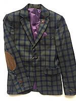 Пиджак для мальчика в клетку, подростковая одежда 128-146 и 152-176