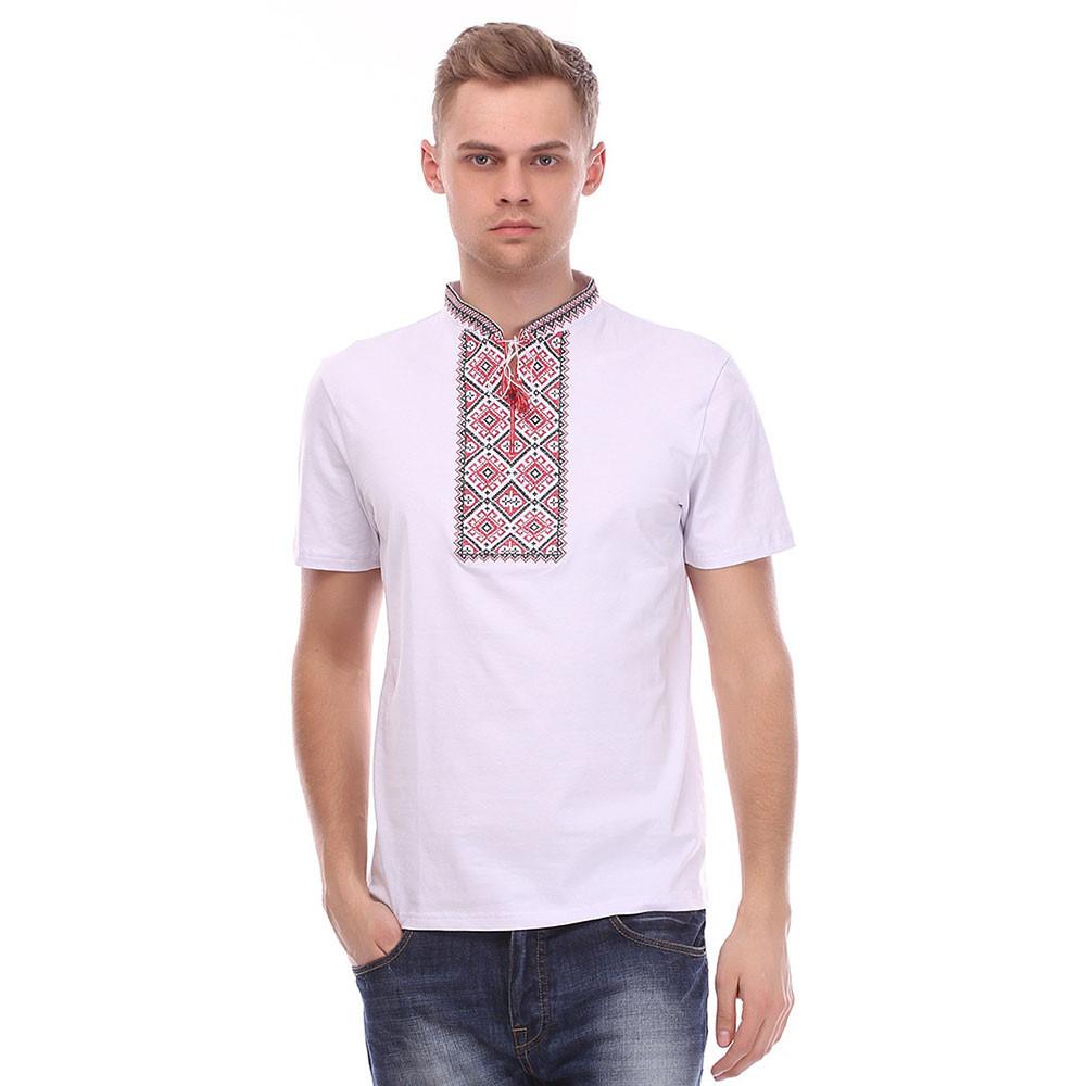 Чоловіча футболка вишиванка біла з червоною вишивкою