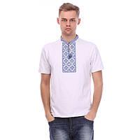 Чоловіча футболка вишиванка біла з блакитною вишивкою ad003f972bfa6