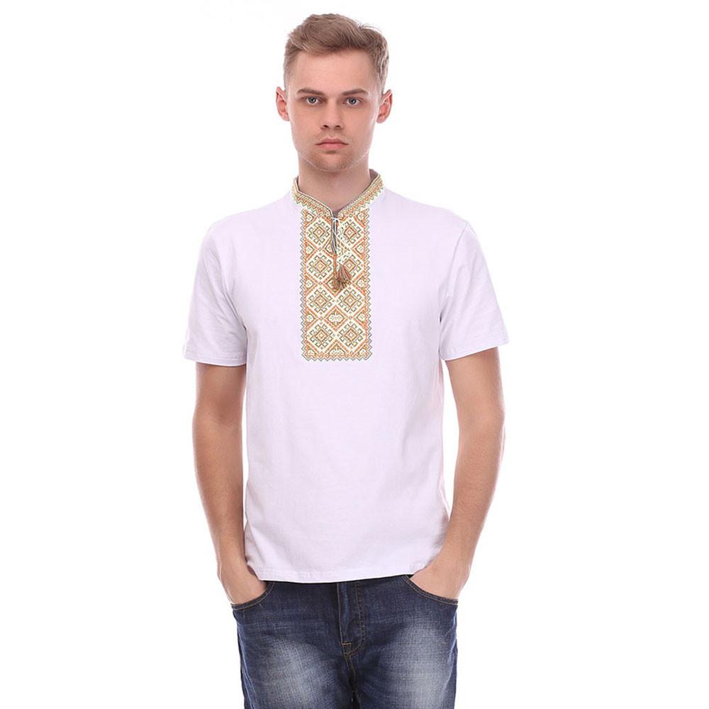 Чоловіча футболка вишиванка біла з коричневою вишивкою
