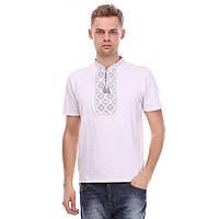 Чоловіча футболка вишиванка біла - сірий орнамент