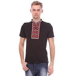 Чоловіча футболка вишиванка чорна з червоною вишивкою