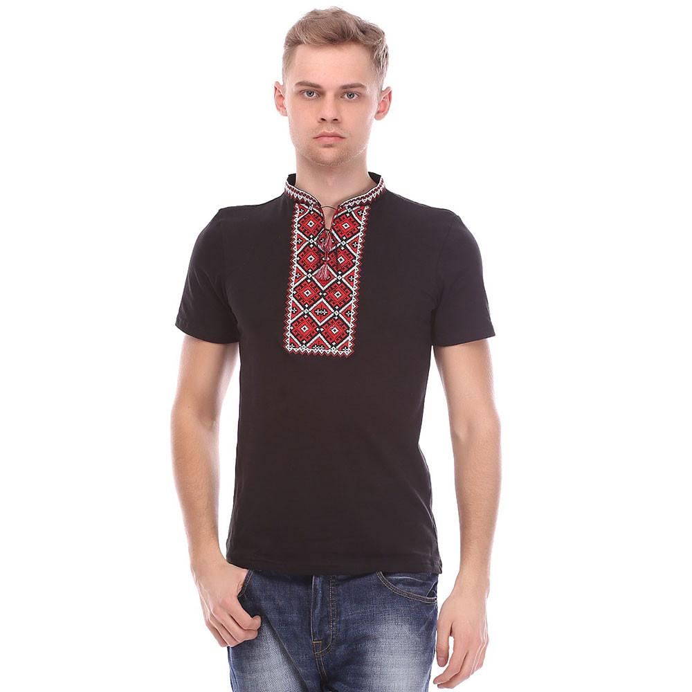 Чоловіча футболка вишиванка чорна з червоною вишивкою - Вишиванки оптом и в  розницу - «ОптИнвест 8a0d4681cc080