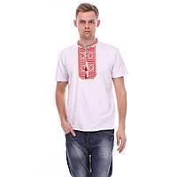 Чоловіча біла футболка з червоною вишивкою гладдю