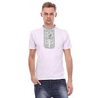 Чоловіча біла футболка з сірим орнаментом  гладдю