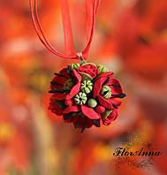 """""""Маковка"""" авторский кулон/колье ручной работы с цветами. Украшение на выпускной вечер"""