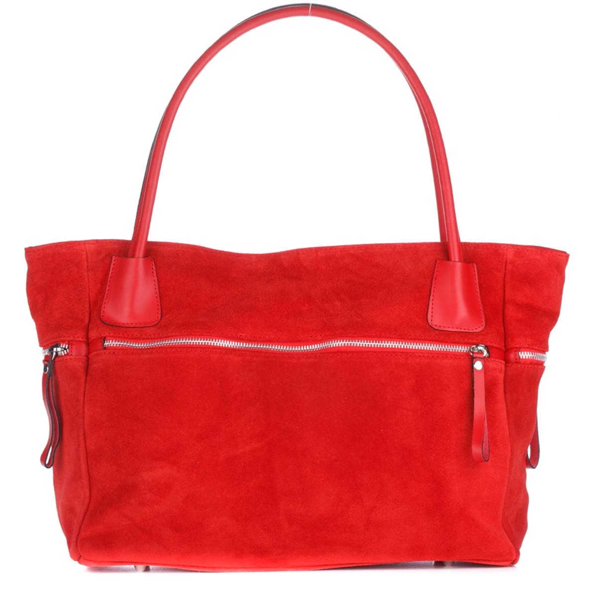 Женская замшевая сумка 1891 красного цвета Италия