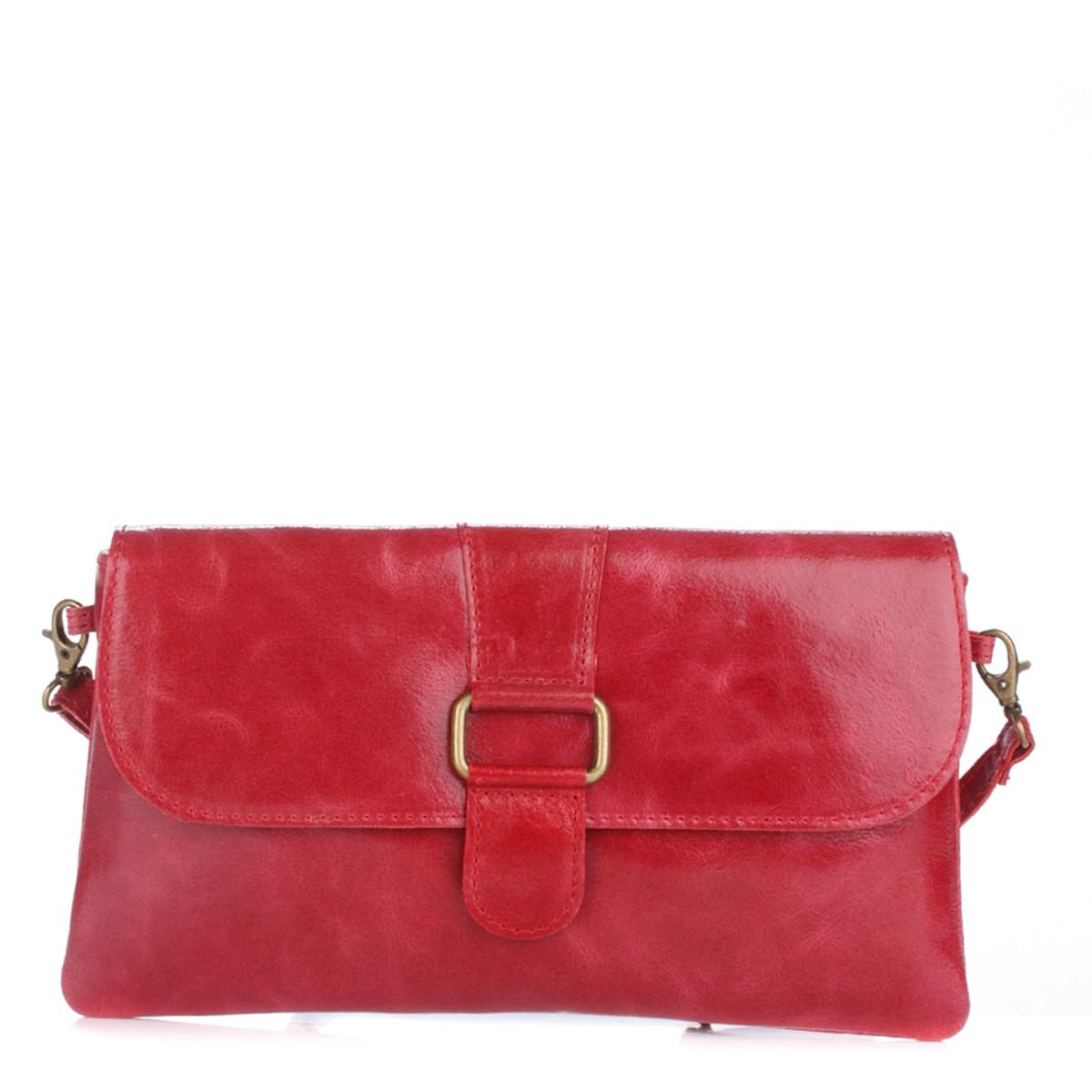 Женский кожаный клатч 1299 красного цвета Италия