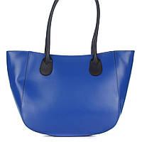 Женская кожаная сумка 1698 синего цвета Италия