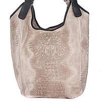 Женская кожаная сумка 17901 бежевого цвета Италия