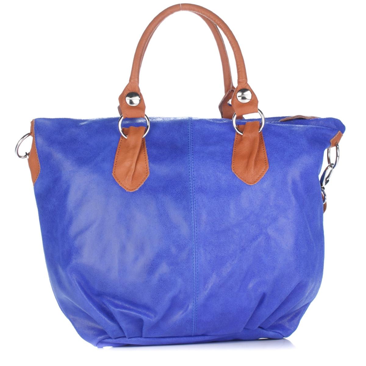 Женская кожаная сумка 2057 синего цвета Италия