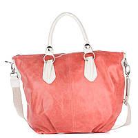 Женская кожаная сумка 2057 кораллового цвета Италия
