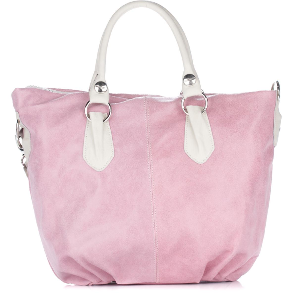 Женская замшевая сумка 2057 розового цвета Италия