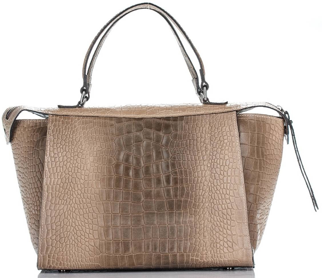 Женская кожаная сумка 8146 бежевого цвета Италия
