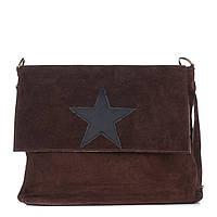 Женская замшевая сумка 8160 темно-коричневого цвета Италия