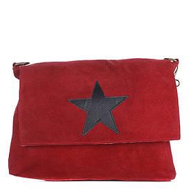 Женская замшевая сумка 8160 красного цвета Италия
