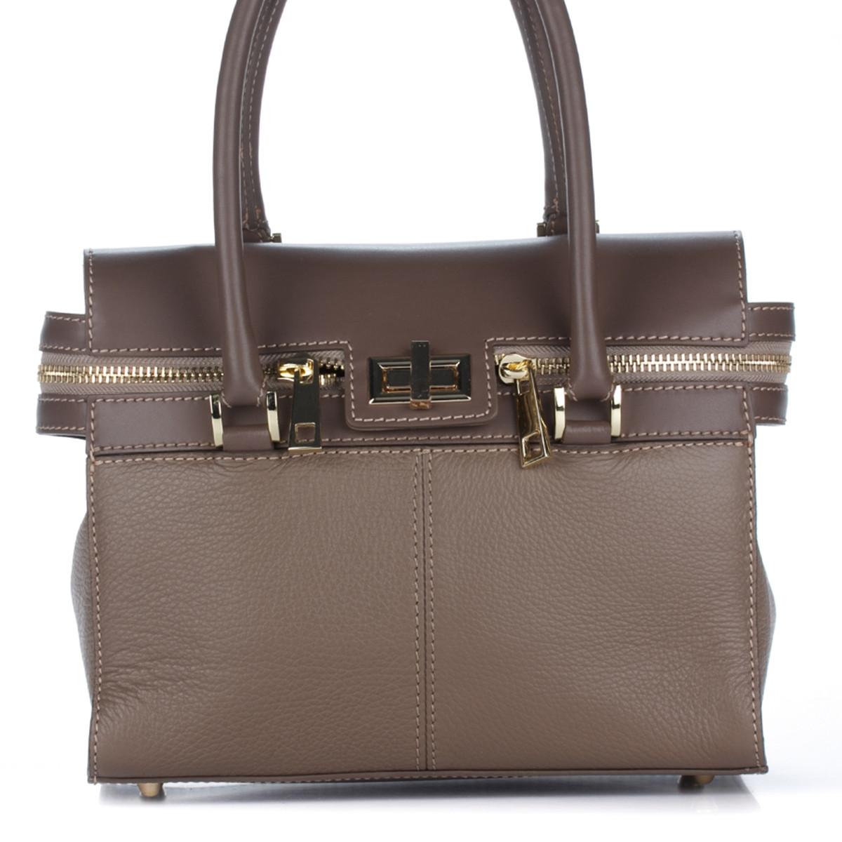 Женская кожаная сумка 8182 бежевого цвета Италия