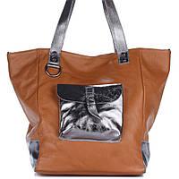 Женская кожаная сумка 8187 рыжего цвета Италия