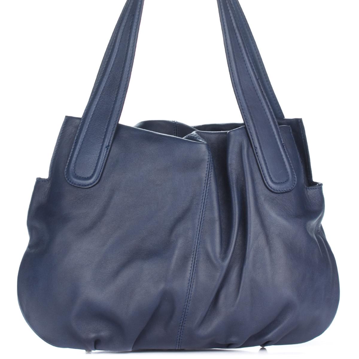 Женская кожаная сумка 8216 синего цвета Италия