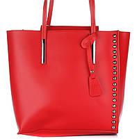 Женская кожаная сумка 8237 красного цвета Италия