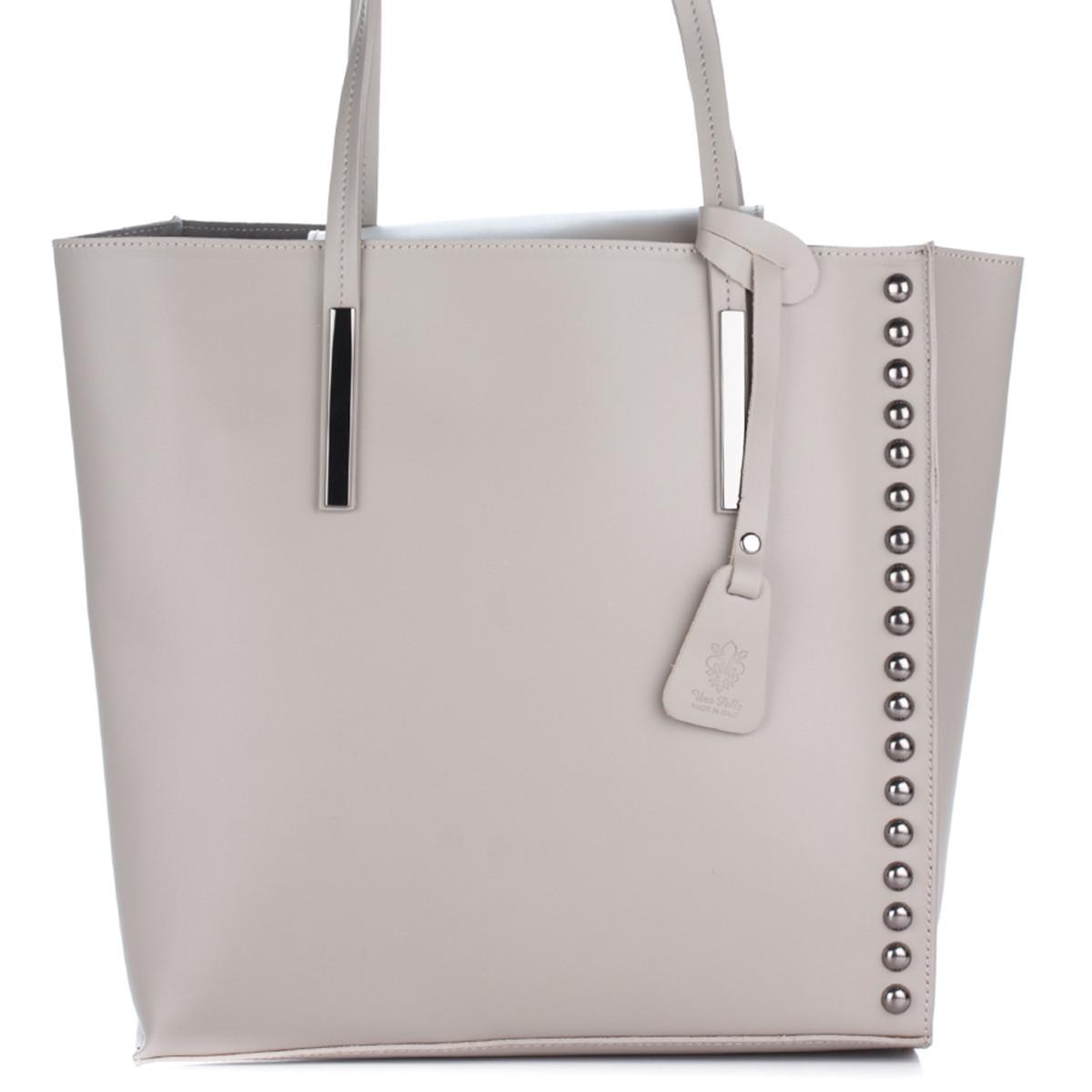 Женская кожаная сумка 8237 бежевого цвета Италия