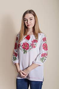 e533a5574fba82 Жіноча вишиванка на домотканому полотні з рукавом 3/4 із вишивкою квітами  «Галина»