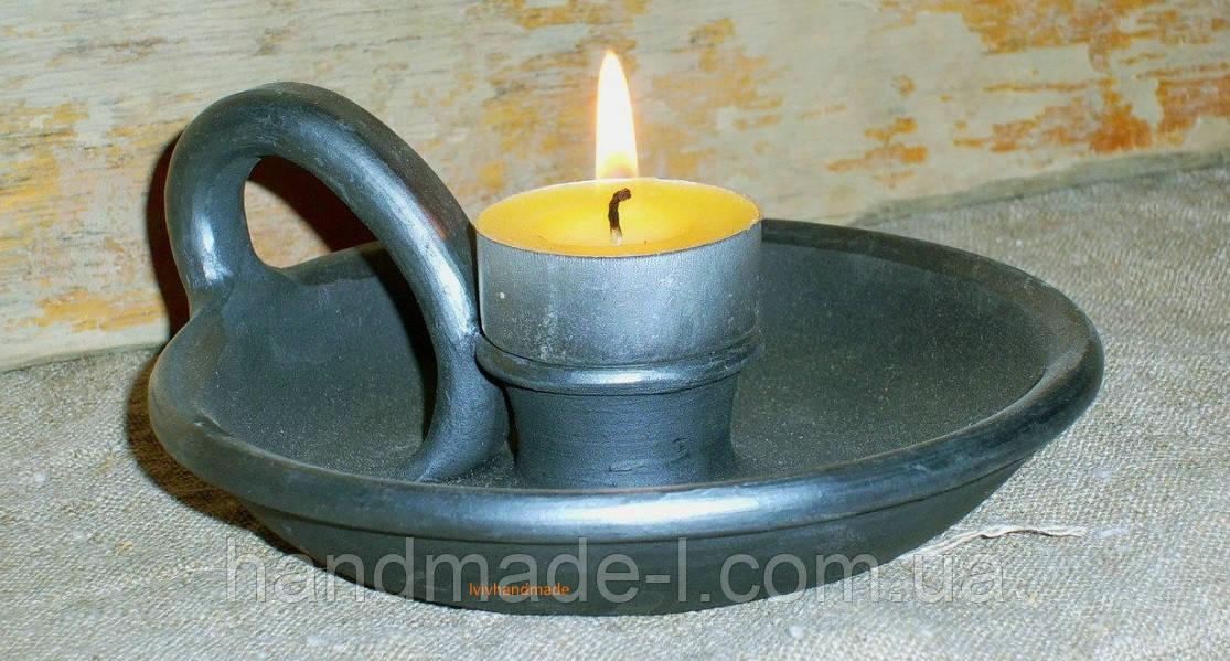 Підсвічник каганець ручної роботи глиняний