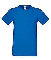 Ярко-синяя мужская футболка из 100% хлопка с коротким рукавом