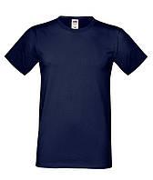 Одноцветная хлопковая футболка для мужчин темно-синяя
