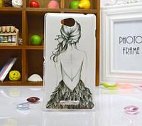 Силиконовый бампер чехол для Sony Xperia S39h C2305 с рисунком Девушка спиной
