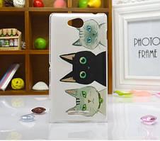 Силиконовый бампер чехол для Sony Xperia S39h C2305 с рисунком Коты