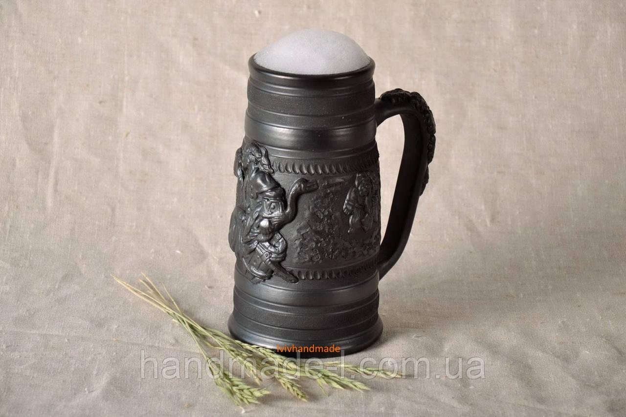 Келих керамічний пивний чорнодимлений ручної роботи 1л