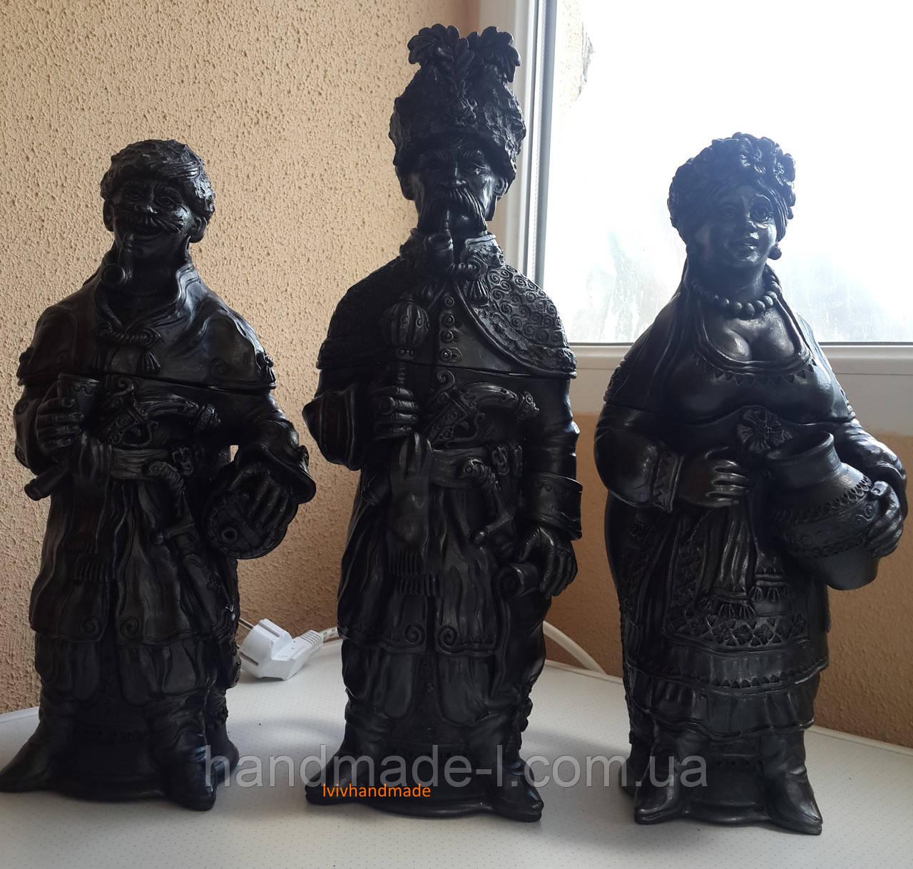Фігури керамічні (келихи) ручної роботи з чорнодимленої кераміки