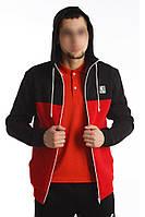 Кофта олимпийка мужская с капюшоном Ястребь черно-красная