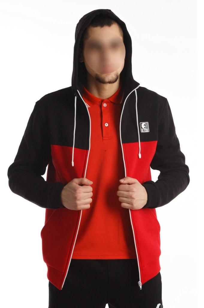 3d20781b9c5ff Кофта олимпийка мужская с капюшоном Ястребь черно-красная -