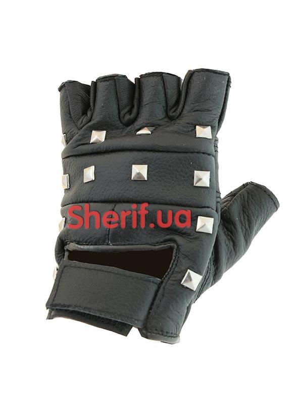 Перчатки  без пальцев  кожаные черные с заклепками Делюкс, Black Max Fuchs15504