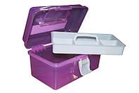 Контейнер-бокс пластиковый средний YRE ККВ-01, бокс пластиковый для косметолога
