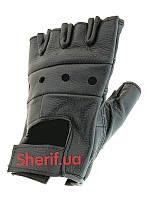 Перчатки без пальцев кожаные Делюкс 15514