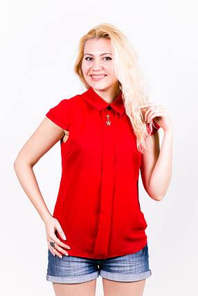 Блузка из шифона 203/1 красная, фото 2
