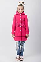 Детское кашемировое комбинированное пальто для девочки с капюшоном и бантом на пуговках малиновое