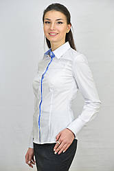 Белая женская блуза комбинированная с голубой планкой