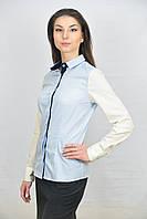 Белая женская блуза комбинированная двухцветная