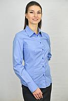 Голубая женская блуза комбинированная синей клеткой