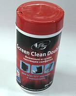 VS влажные и сухие чистящие салфетки для LCD/TFT в тубе 50+50 шт.