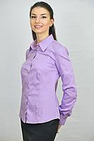Сиреневая женская блуза комбинированная клеткой