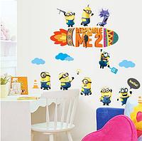 """Наклейка на стену в детскую, украшения стены наклейки """"Миньоны посіпаки """"Гадкий Я"""" Minion"""" (лист60*90см)"""