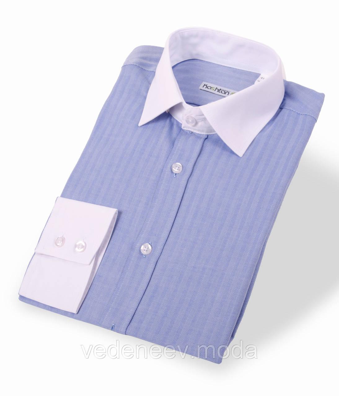 Мужская комбинированная приталенная рубашка голубого цвета с белым воротником и манжетами